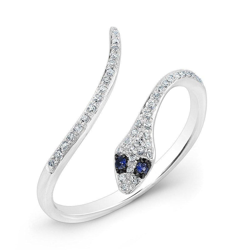 14KT White Gold Diamond Slytherin Ring with Blue Sapphire Eyes