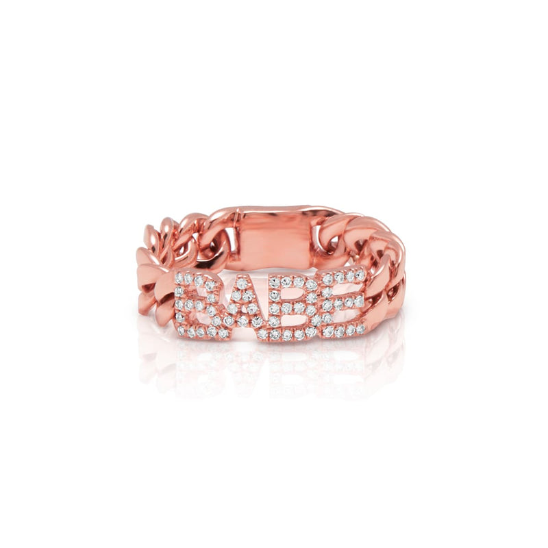 14KT Rose Gold Diamond Babe Chain Link Ring