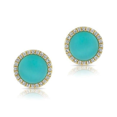 14KT Yellow Gold Turquoise Diamond Disc Stud Earrings