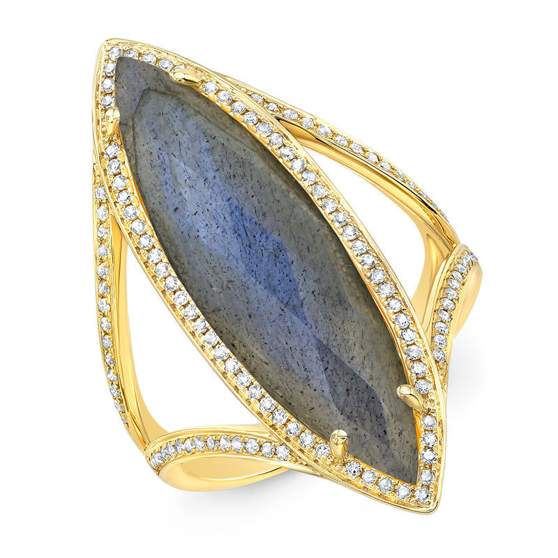 14KT Yellow Gold Diamond Labradorite Alexis Ring