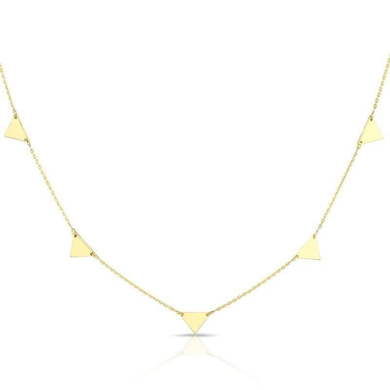 14KT Solid Yellow Gold Triangles Necklace