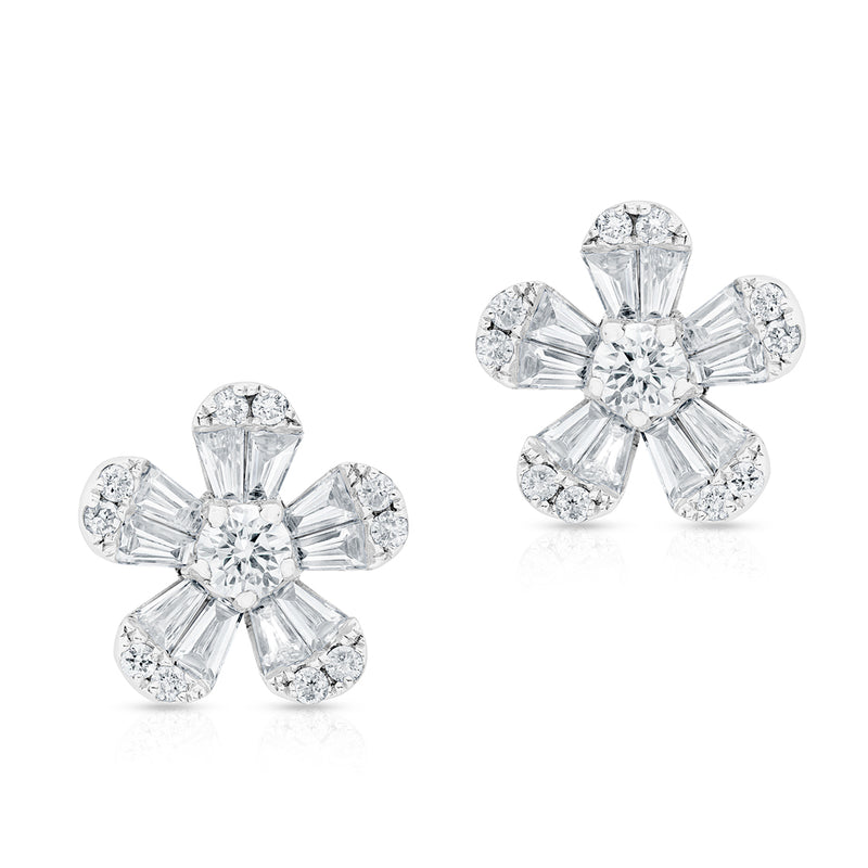 14KT White Gold Baguette Diamond Luxe Daisy Stud Earrings