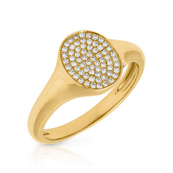 14KT Yellow Gold Diamond Pave Oval Disc Ring