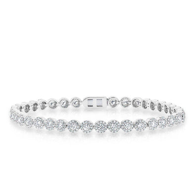 14KT White Gold Diamond Love Collection Luxe Tennis Bracelet