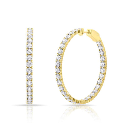 14KT Yellow Gold Diamond Medium Bella Hoop Earrings