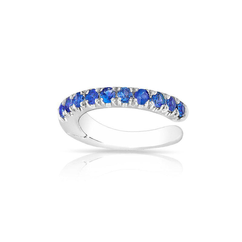 14KT White Gold Sapphire Lola Hinge Ear Cuff