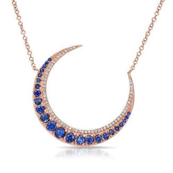 14KT Rose Gold Sapphire Lunar Diamond Necklace