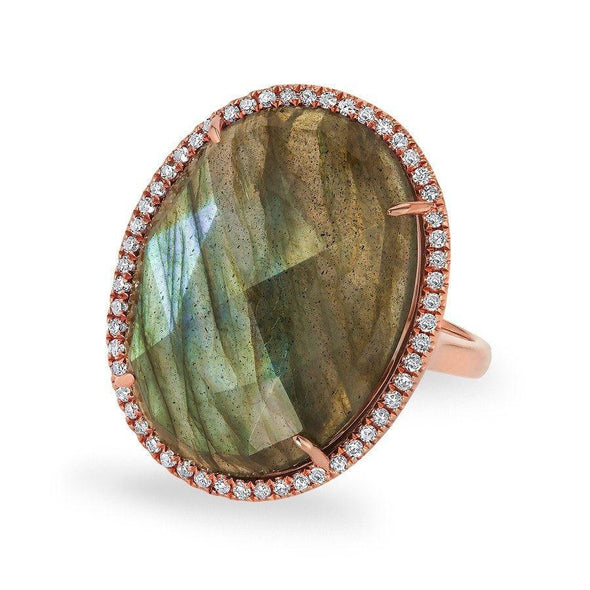 14KT Rose Gold Labradorite Diamond Oval Cocktail Ring
