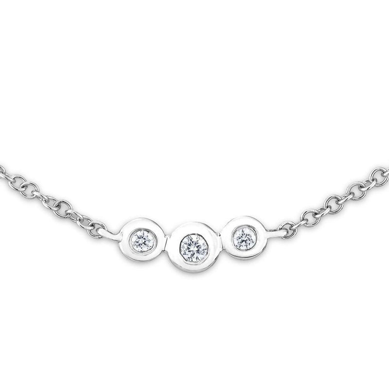 14KT White Gold Diamond Bezel Amber Necklace-Anne Sisteron