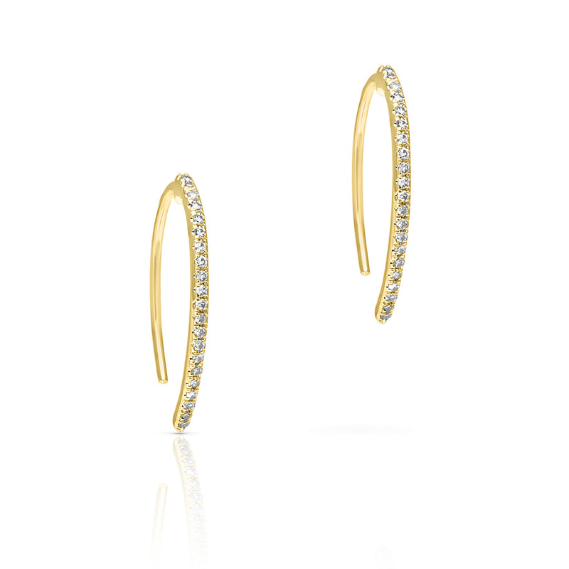 14KT Yellow Gold Diamond Lash Wishbone Earrings