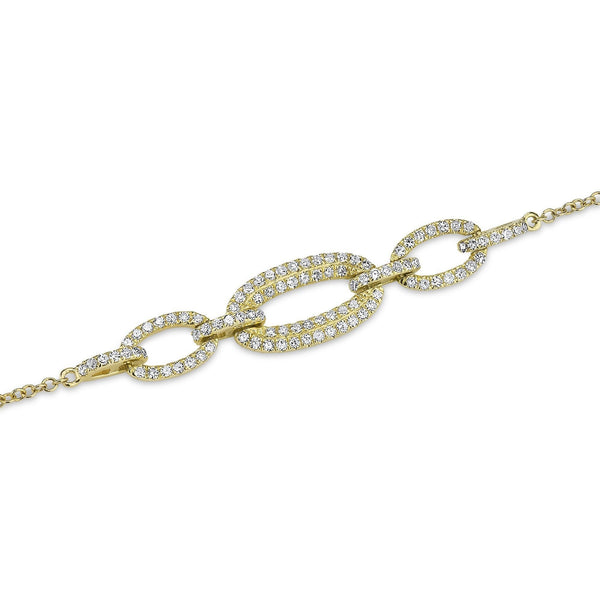 14KT Yellow Gold Three Link Chain Bracelet