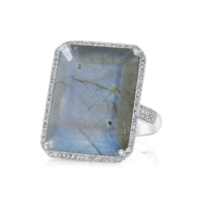 14KT White Gold Labradorite Diamond Rectangle Cocktail Ring