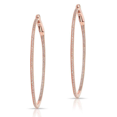 "14KT Rose Gold Diamond 2"" Hoop Earrings"
