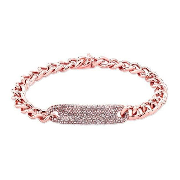 rose gold diamond luxe id bracelet