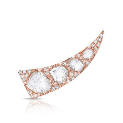 14KT Rose Gold Diamond Slice Horn Ear Climber