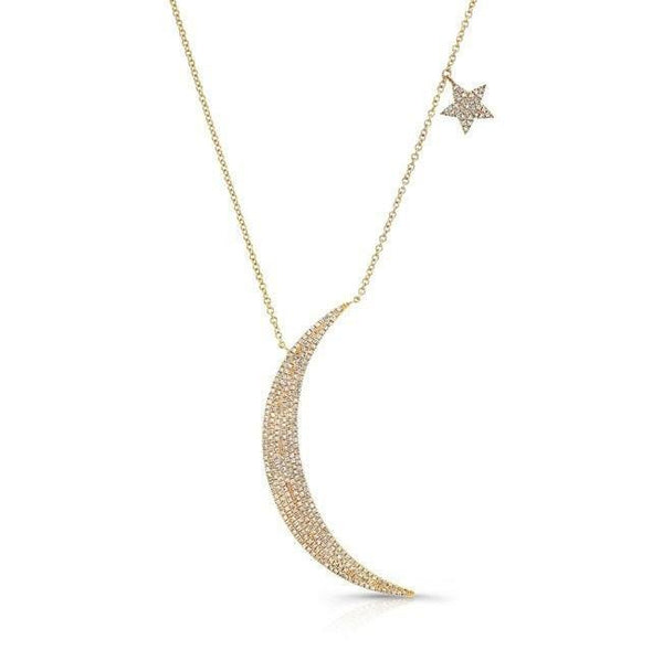 14KT Yellow Gold Diamond Moon and Star Necklace