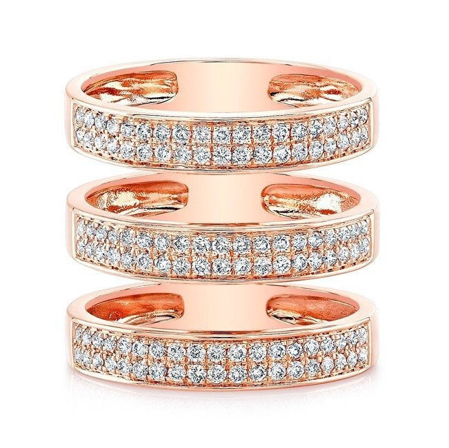 14KT Rose Gold Diamond Large Triple Bar Ring