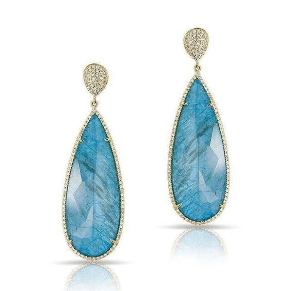 14KT Yellow Gold Blue Apatite Diamond Drop Earrings