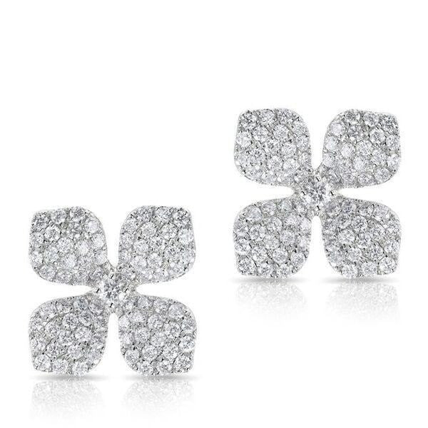white gold diamond gardenia stud earrings