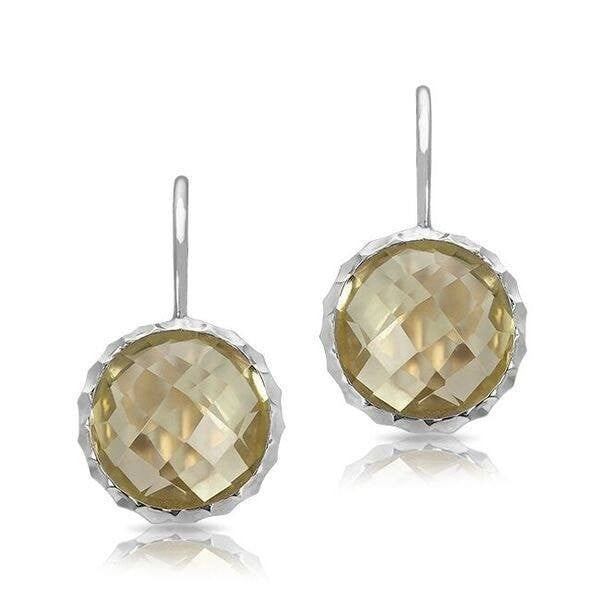 14k white gold lemon topaz earrings