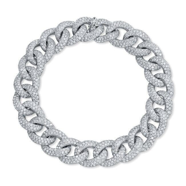 white gold diamond luxe chain link bracelet