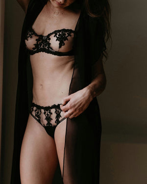 Onyx Embroidered Balcony Bra