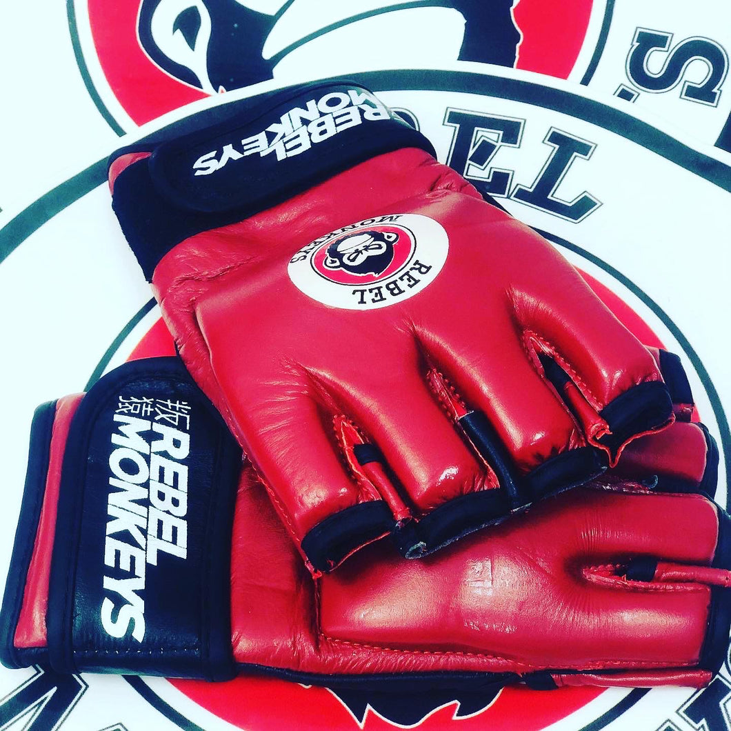 Red MMA Gloves 100% Cowhide Leather - Rebel Monkeys