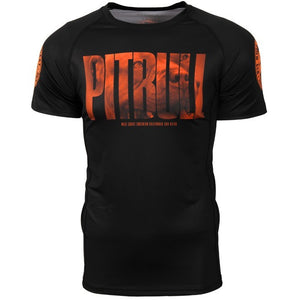 "PitBull West Coast ""Orange Dog"" Short Sleeve Rash Guard - REBEL MONKEYS"