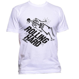 "Rebel Monkeys ""ROLLING HARD"" T-Shirt White Black - Rebel Monkeys"