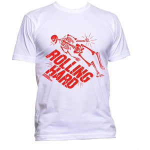 "Rebel Monkeys ""ROLLING HARD"" T-Shirt White Red - Rebel Monkeys"