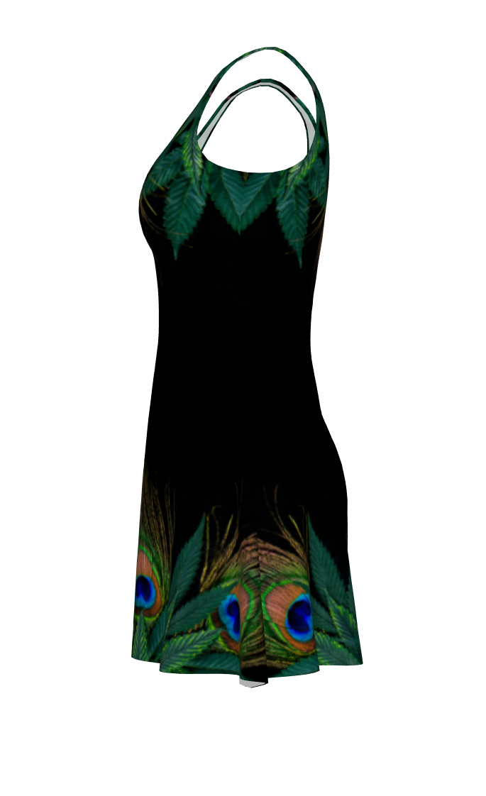 Peacock and Cannabis Dress