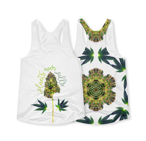 Women's Racerback Flowy Tank - Plants Over Pills