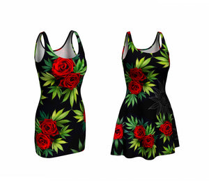 Red Roses and Cannabis printed dress