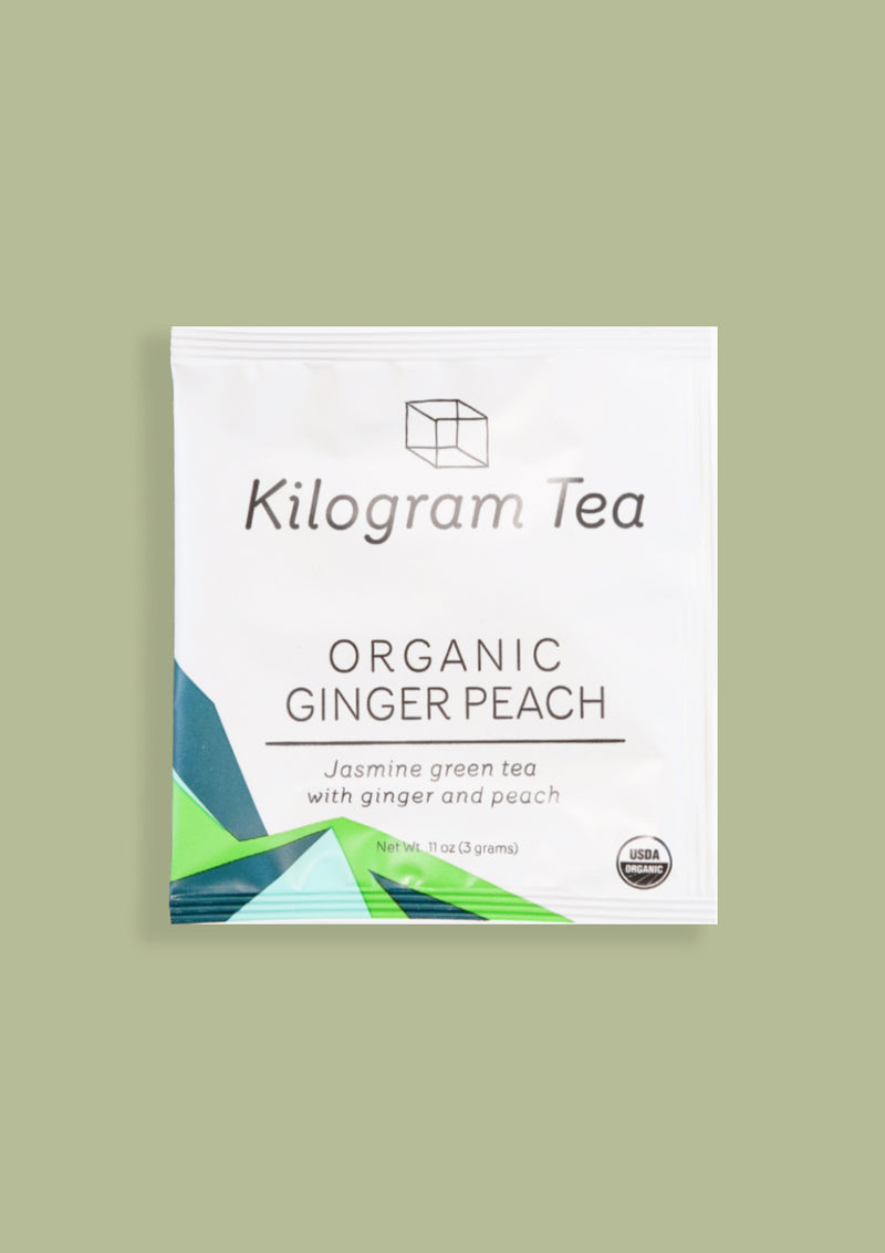 photo of organic ginger peach pyramid kilogram tea packet