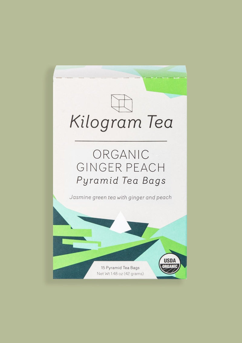 photo of box of organic ginger peach kilogram pyramid tea