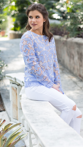 Azure Lace Blouse