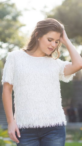 Cream Fringed Blouse