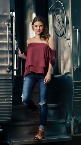 Marsala Sateen Blouse