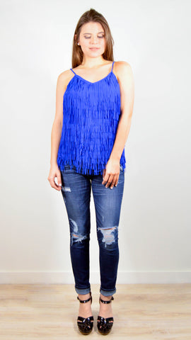 Party Fringed Blue Top