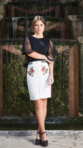 Rose Embroidered Skirt