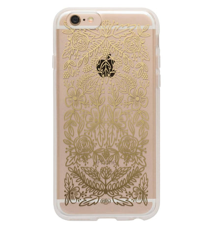 Clear Gold Floral Lace