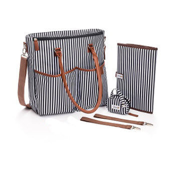 """Free Monogram"" Unisex Baby Diaper Bag In Black And White Stripes"
