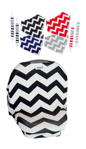 Black Chevron Car Seat Cover With Four Bandana Bibs and Four Pacifier Clips