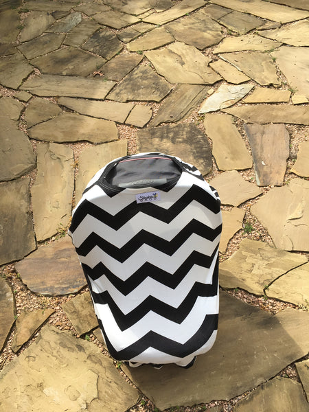 Free Monogram Black Chevron Infant Car Seat Cover