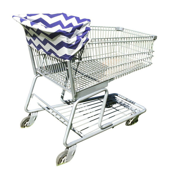 Blue Chevron Baby Car Seat Cover On Shopping Cart / Grocery Cover
