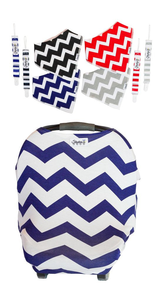 Blue Chevron Baby Car Seat Cover With Four Bandana Bibs and Four Pacifier Clips Perfect Shower Gift