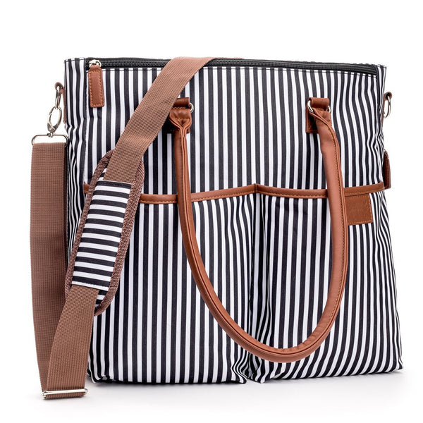 Unisex Designer Baby Striped Diaper Bag In Black And White Gift Set