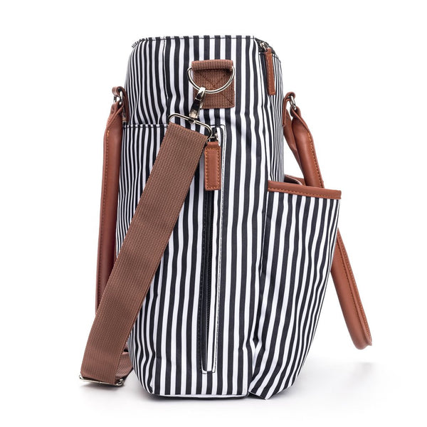 Unisex Designer Baby Diaper Bag In Stripe Black And White With Isolated Pockets Baby Shower Gift Set