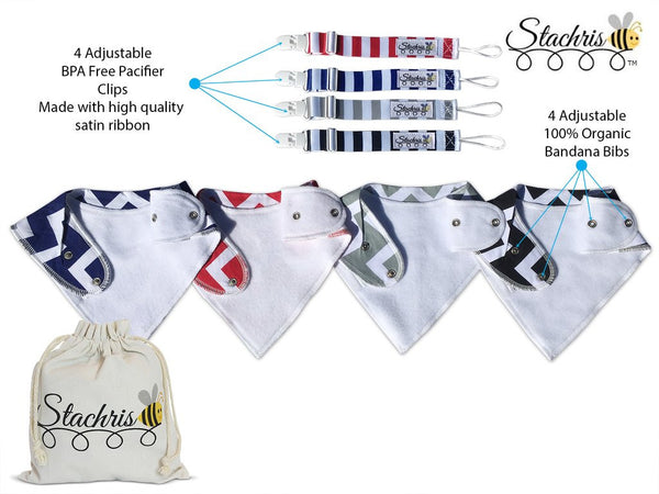 100% Organic Adjustable Bandana Bibs and Four Adjustable Pacifier Clips