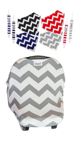 Gray Chevron Baby Car Seat Cover With Organic Four Bandana Bibs and Four Adjustable Pacifier Clips Gift Set